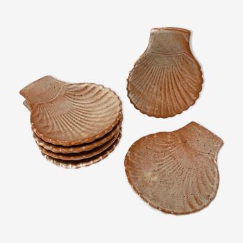 Set de 6 coupelles coquillages en grès