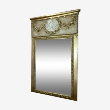 Miroir trumeau patiné doré 110x70cm