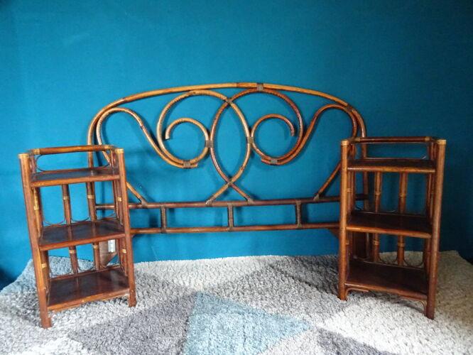 Tête de lit rotin pour lit double