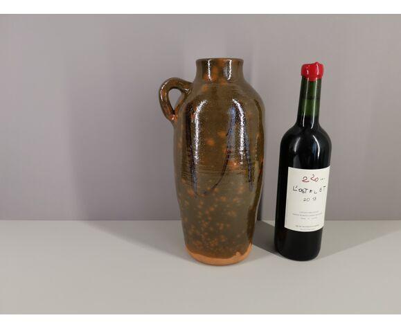 Vase signé Angel Naval en céramique vernissée céramique française / travail artisanal