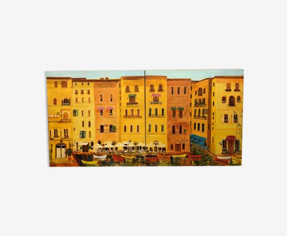 Jan mulder (1895-1988) huile sur toile en 2 volets figurant un marché au bord de l'eau