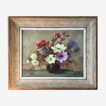 """Tableau HST """"Bouquet de fleurs"""" par J. Terny avec cadre années 50'"""