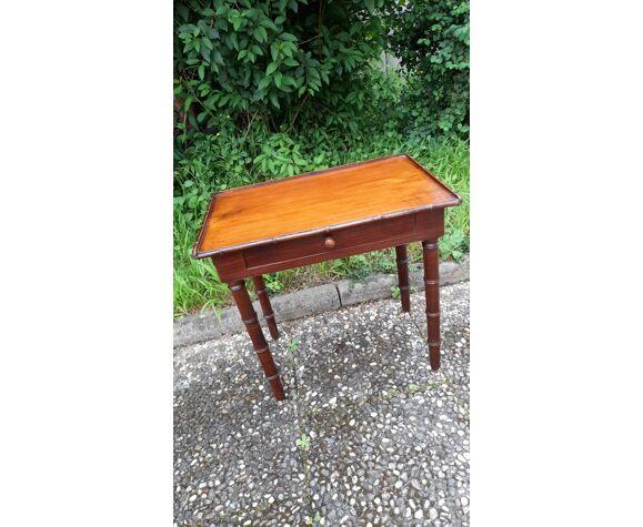 Bureau d'enfant 1900 en chêne - table et fauteuil bambou rétro
