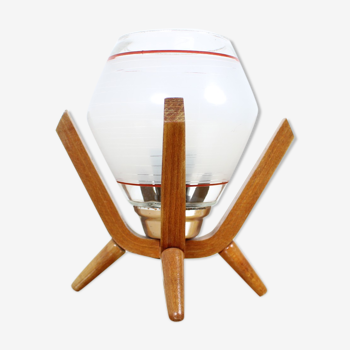 Lampe de table de chevet design du milieu du siècle Dřevo Humpolec, années 1970.