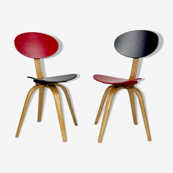 Paire de chaises bow wood n°3 edition Steiner 1950