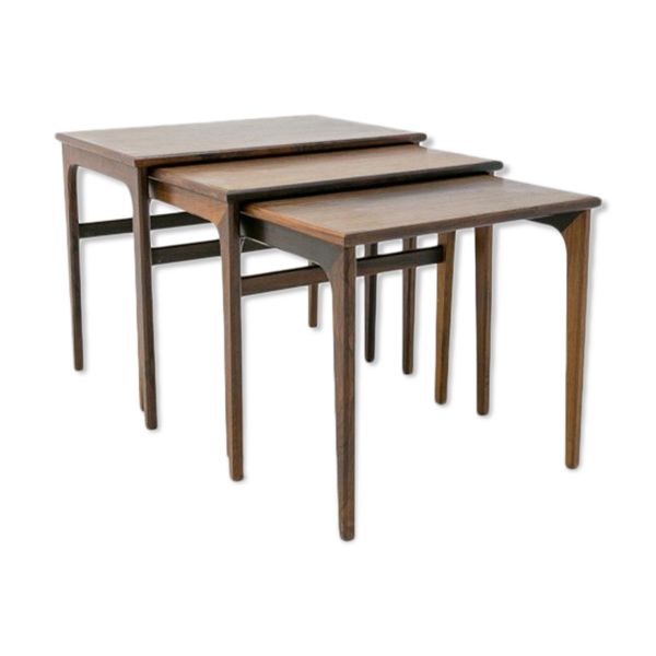 Tables gigognes en palissandre design scandinave années 1970.