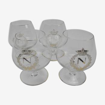 4 verres à cognac cristal Napoléon vintage glasses