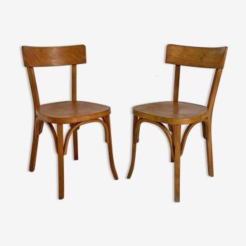 Paire de chaises bistrot Baumann vintage 50's