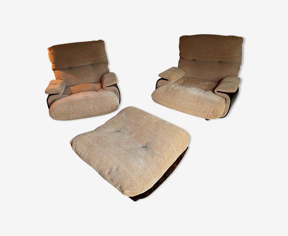 Ensemble de fauteuils et pouf  modèle Marsala Michel Ducaroy, Ligne Roset