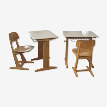 Bureau et chaise écolier vintage Casala