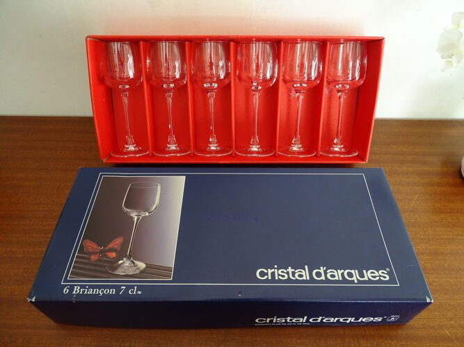 6 verres à porto cristal d'Arques modèle Briançon 7cl en boites