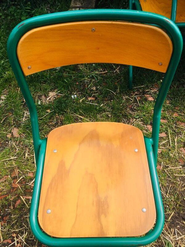 Lot de 10 chaises écoles des années '70, 5 bleus et 5 vert