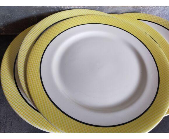 """Huit assiettes à dessert de Salins service """"Menton"""" années 50"""