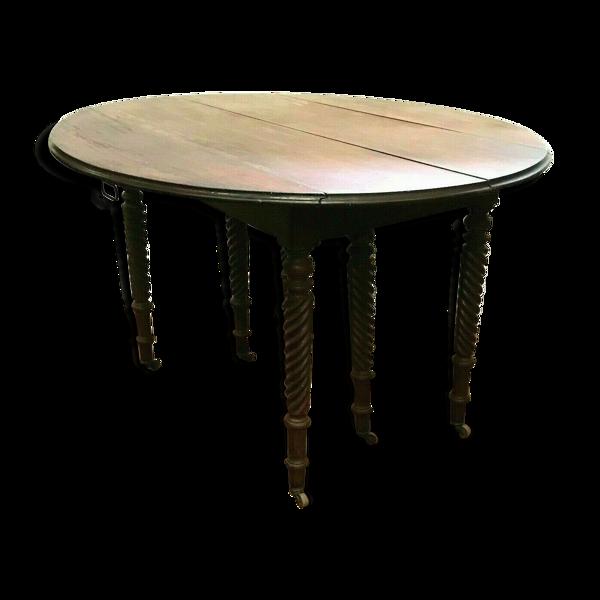 Table a battant Louis Philippe Table six pieds torsades Acajou Cuba XIX siècle