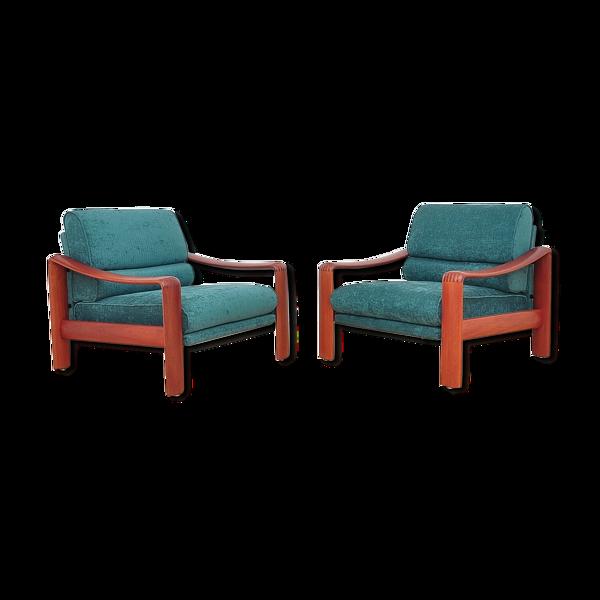 Paire de fauteuils en teck massif, années 1970