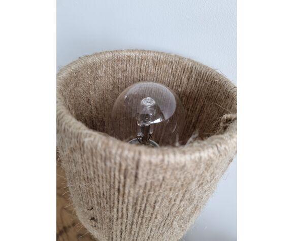 Lampe gres vintage abat jour corde