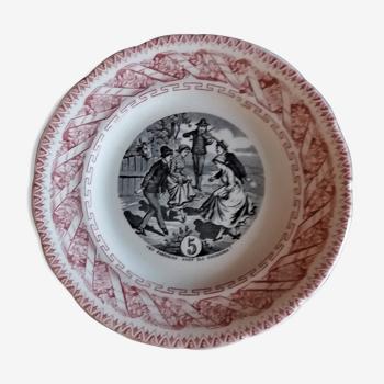 Assiette parlante à thème Gien N° 5 fin XIXème
