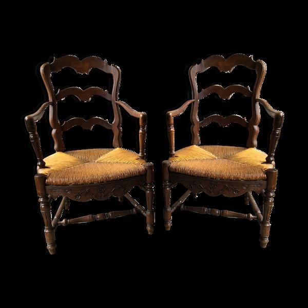 Paire ancien fauteuil aiguille bois sculpté & assise paillé + housse tissu vintage