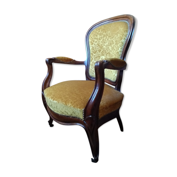 Fauteuil Voltaire tissu velours or