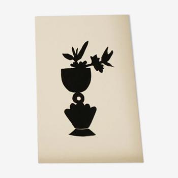 Vase noir avec fleurs