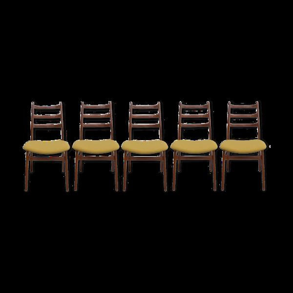 Selency Lot de 5 chaises en teck, restaurées