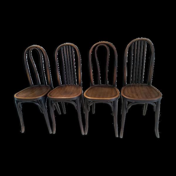 Selency Suite de 4 chaises de bistrot Baumann vintage année 1920.