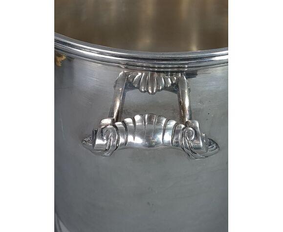 Seau à champagne métal argenté style Louis XVI Maison Ercuis