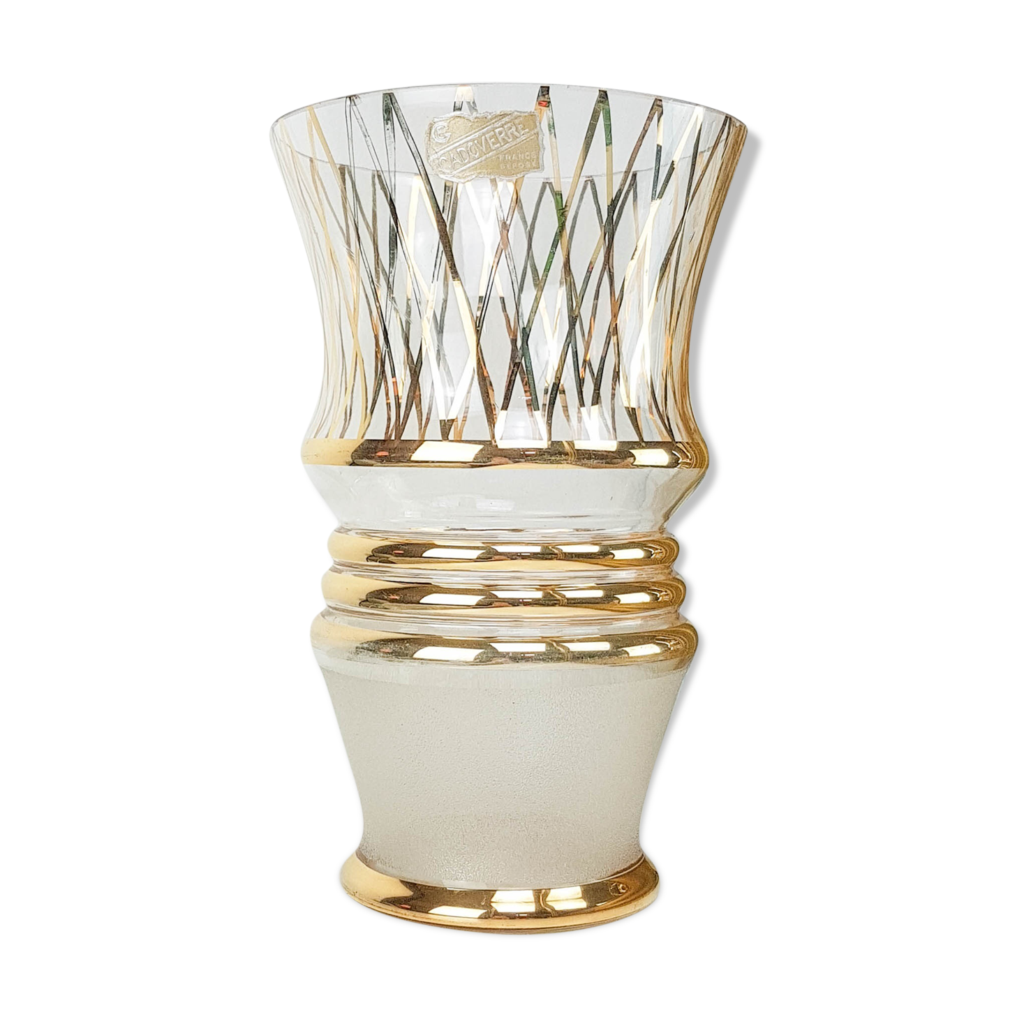 Vase en verre Art déco motif doré Cadoverre vintage