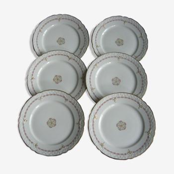 Série de 6 plats à dessert en porcelaine de Limoges
