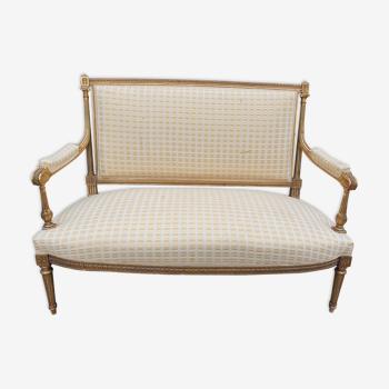 Louis XVI-style gilded bench