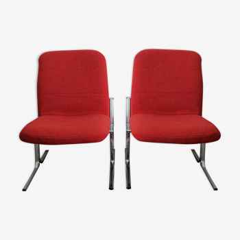 Armchairs 70s fabric and chrome