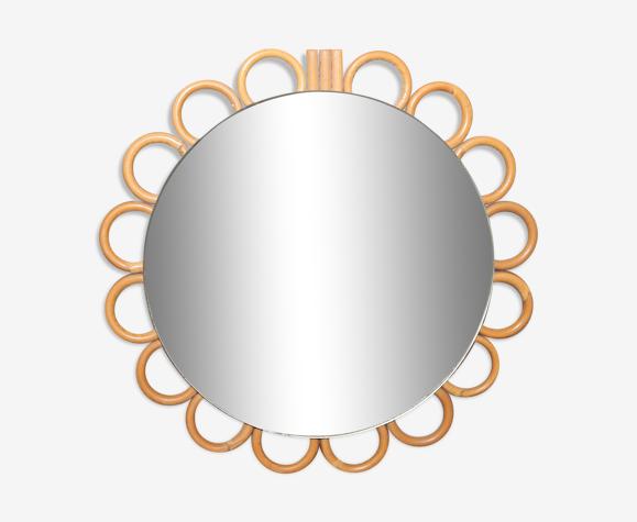 Miroir soleil en rotin 17cm