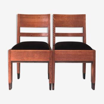 Chaises en chêne art déco  «Haagse School»  H. Fels For L.O.V. Oosterbeek 1920s. Set Of 2