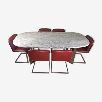 Table design marbre 6 chaises 1970