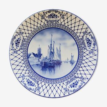 Plat Delft décor de bateaux