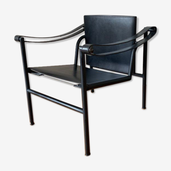Armchair LC1 Le Corbusier in black leather for Cassina year 1970