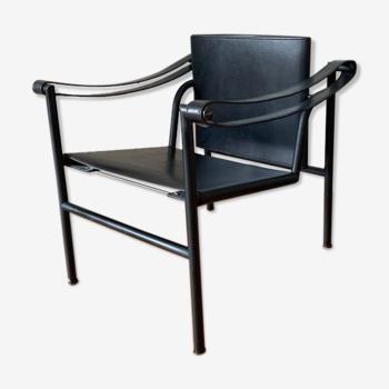 Fauteuil LC1 Le Corbusier en cuir noir pour Cassina année 1970