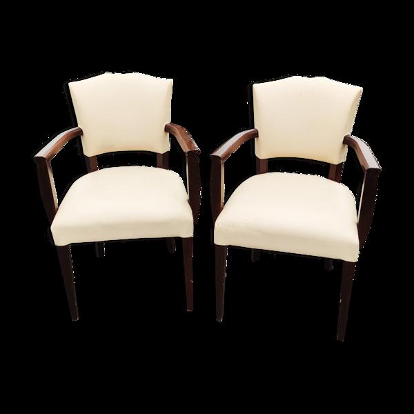 Paire fauteuils bridge Art déco
