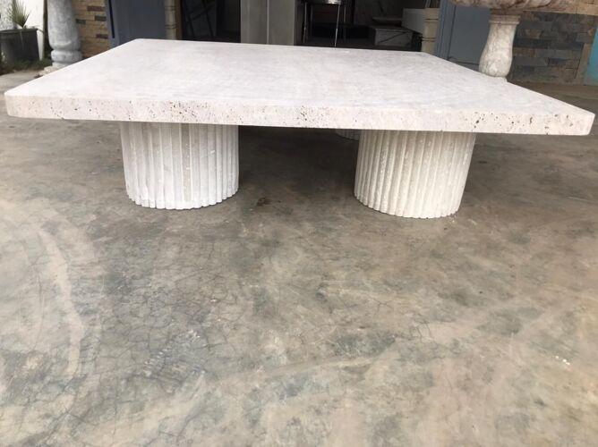 Table basse carrée travertin naturel