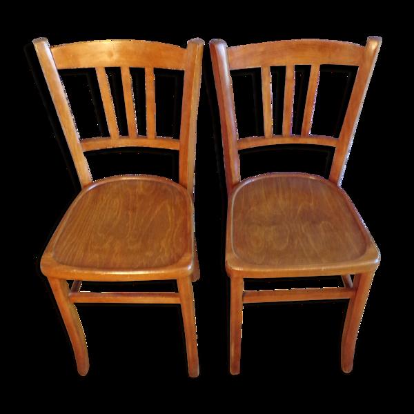 Paire de chaises de bistrot anciennes