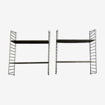 Paire d'étagères String de Nisse Strinning en métal perforé 1970 Sweden