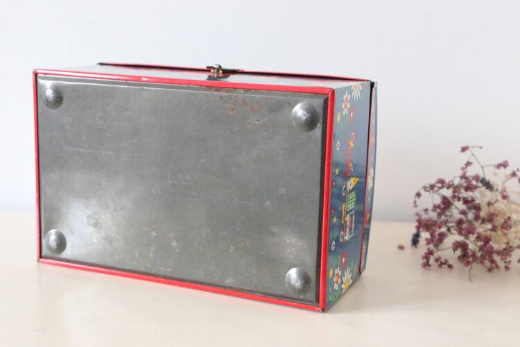 Boite métal aux motifs populaire - vintage - 1980
