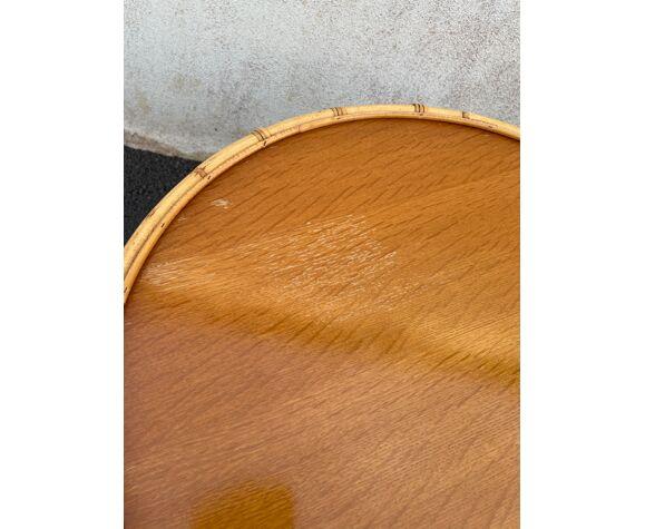 Table ronde rotin vintage
