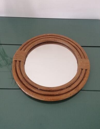 Miroir vintage rotin rond - 1970 - 32cm