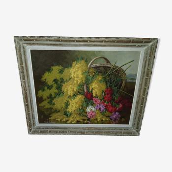 Tableau peinture bouquet de mimosa et œillets vintage