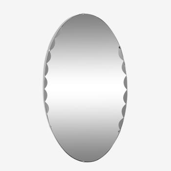 Miroir oval art déco biseauté monté sur bois avec chaîne d'origine vertical ou horizontal 38x68cm