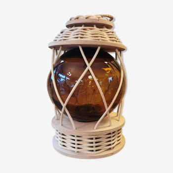Lampe vintage en bois et osier