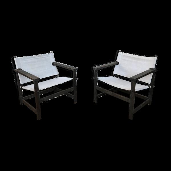 Paire de fauteuils safari de Gerd Lange 1965