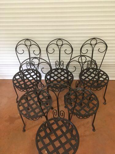Lot de 6 chaises fer forgé