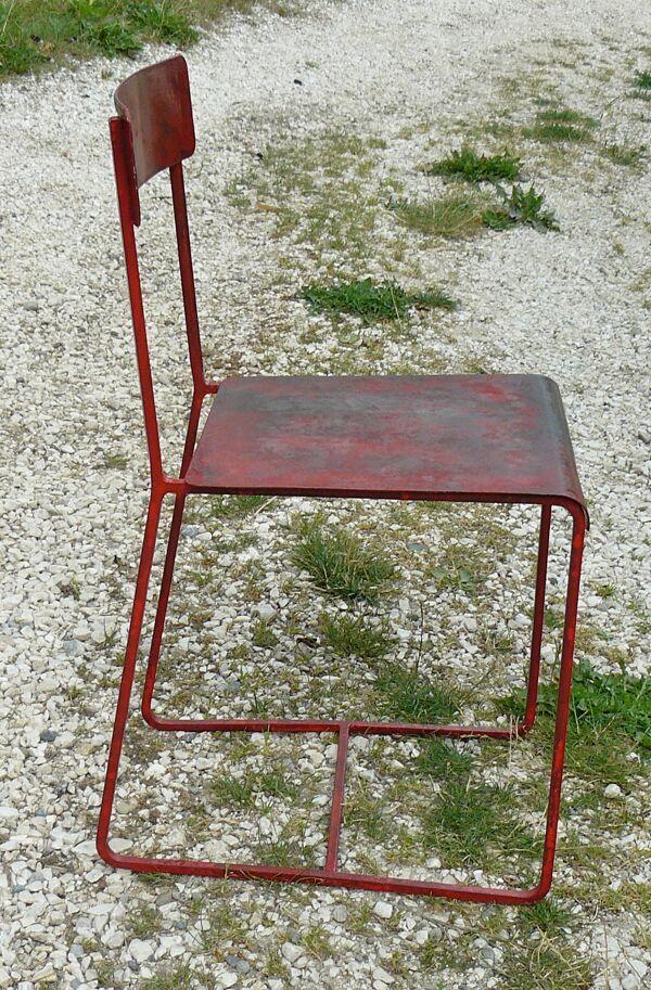Chaise fer design industriel 1950 bauhaus